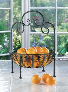 Decorative Wrought Iron Fleur-de-lis Design Standing Bowl