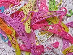 barbie hangers - LOL I remember this hangers when I was in second grade. This one MEAN girl in my class that everybody hated had this for Christmas Party at school by exchanging gifts. When she open this, she cried her eyes out because she got this lousy little Barbie Doll Hangers and I remember myself SMILE from ear to ear because that ungrateful MEAN brat deserved it. Merry Christmas to ME!!!!