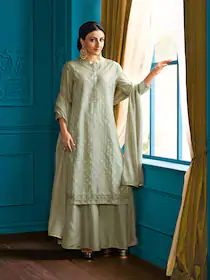 House of Pataudi Women Sea Green Self Design Kurta with Skirt & Dupatta