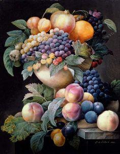 Fruits Poster Art Print by Pierre Joseph Redoute Art Floral, Botanical Art, Botanical Illustration, Still Life Fruit, Fruit Painting, Caravaggio, Fruit Art, Art Plastique, Framed Art Prints