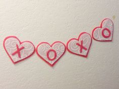 Valentines Day Banner Pink Heart Felt Garland Swirl Decor Photo Prop Wedding XOXO on Etsy, $9.00