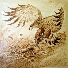 wood burning eagle