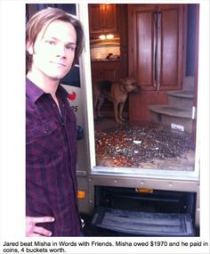 All over Jared's mobile home, lol. But to be fair, Jared dumped it all right back in Misha's car later. No one plays a prank on Jared Padalecki and gets away without experiencing his revenge. *evil laughing*