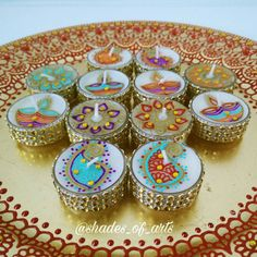 Set of 6  Hand painted henna tealight candles / Diwali decor