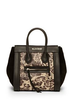 Cindy Tote Python Leather expandable tote; Zippered top with belt-style reinforcement; Dual carry handles with optional