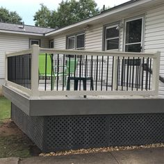 The Bellaire vinyl railing kit provides a unique, elegant look paired with superior strength and durability all at an affordable price. Fade resistant and built to last, the Bellaire is produced leveraging Vinyl Railing, Deck Railings, Hand Railing, Railing Ideas, Patio Deck Designs, Patio Design, Manufactured Home Porch, Mobile Home Porch, Deck Skirting
