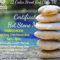 November, AM AM - Chinta Ria Therapy - Red Cliffs - Australia - This one day course is perfect for therapists wanting to gain a competitive edge and offer more to their clients. Stone Massage, Small Groups, Certificate, November, Therapy, Places, Hot, November Born, Healing