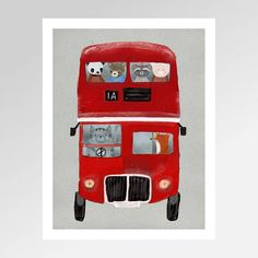 the little big red bus.colorful pop art adventures and