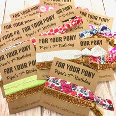 These cute party favors are a great addition to your birthday party favor bags. We have a large variety of prints to choose from and each comes with a glitter hair tie. PLEASE LEAVE A NOTE TO SELLER AT CHECKOUT WITH: Print Options (we will include a variety of print if you dont specify a preference) You can use any print from our favors section of the shop. Date Needed Birthday Girls name & age Want something special made, no problem just send us a convo prior to purchasing. Our elastic ...