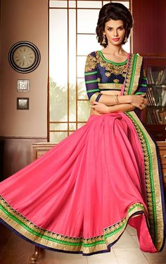 Attractive Pink Color Trendy Saree