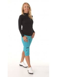 "Jamie Sadock Serenity Women's Skinnylicious Stretch 24"" Pull On Knee Shorts-Tahiti Turquoise"