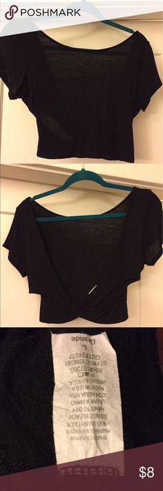 Tobi black crop top Black crop top with crisscross back. Tobi Tops Crop Tops