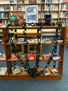 "Front of the BBW Display by hloy22, via Flickr - another take on the ""chained"" idea for a banned books week display"