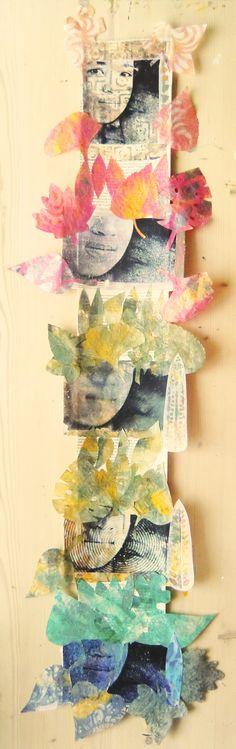 Mixed media 31 Collage, image transfer, sjablonen, gelli plate op deli paper. Ben het nog niet met mezelf eens of ik het geheel nog op wit papier zal plakken, die blaadjes zijn wel wat teer zo.