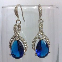Something Blue Bridal Earrings, Wedding Party Jewelry - BLUE TWIRL