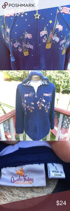 Patriotic Quaker Factory hoodie Absolutely beautiful!! In excellent condition! Made by Quaker Factory sold by QVC Quaker Factory Tops Sweatshirts & Hoodies