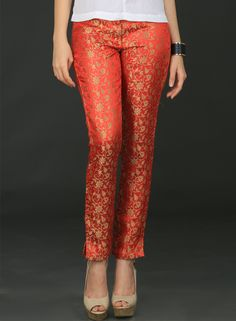 Buy Brocade Pants-medium online, Latest Brocade Pants-medium by Schwof Inc… Salwar Designs, Kurti Designs Party Wear, Blouse Designs, Ethnic Wear Designer, Indian Designer Outfits, Indian Attire, Indian Wear, Indian Dresses, Indian Outfits