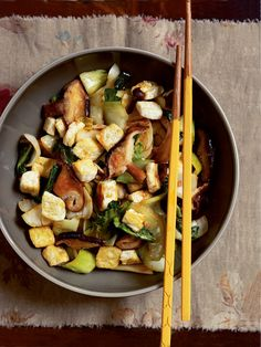Stir-Fried Shiitake Mushrooms with Tofu and Bok Choy Recipe | Vegetarian Times  (Use Gluten Free Tamari to replace soy sauce)
