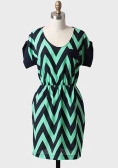 Far Away Chevron Dress | Modern Vintage Mint Combinations $36.99 So cute!