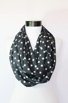 navy blue polka dots satin long infinity scarf by twobirdsgirl