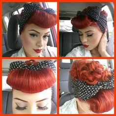 Inspiring rockabilly updo! What do you think? #hairstyle #hair #makeup #rockabilly #pinup #lindybop #fashion #style #fifties #dress #dresses