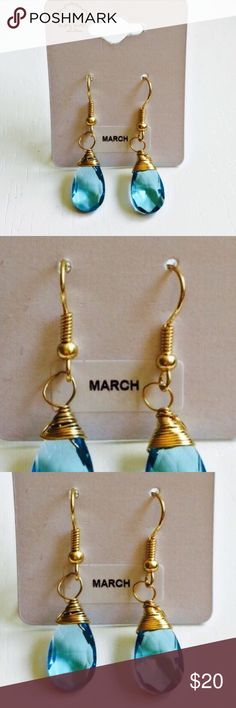 March Birthstone Earrings ❗️Brand New With Tags❗️Never Worn! Absolutely exquisite. These immaculate earrings are so delicately designed. Are you a March baby or know someone who is?:) Then these are the perfect gift! Delicate detailing, the March birthstone & golden hardware make up these beauties. Add the perfect finishing touch with these March Birthstone Earrings. Truly eye-catching & one of a kind additions to add to your jewelry collection:)❗️Depending on lighting the color can look…