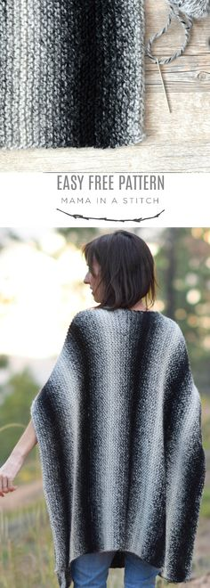 Aspen Relaxed Knit Poncho Pattern via @MamaInAStitch