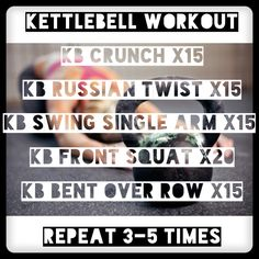 My kettle-bell workout Kettlebell Routines, Bent Over Rows, Front Squat, Russian Twist, Kettlebells, Resistance Bands, Squats, Workouts, Health Fitness