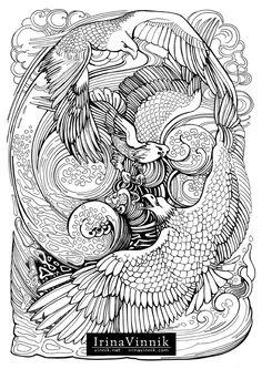 Manic Botanic Coloring Book by Irina Vinnik on Behance Bird Coloring Pages, Adult Coloring Pages, Coloring Books, Print Pictures, Colorful Pictures, Painting Patterns, Line Art, Bunt, Sketches