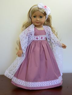 """""""Vintage Rose"""" Regency Dress, Outfit, Clothes for 18"""" American Girl Caroline #LuminariaDesigns"""