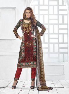 Wholesale Maroon Straight Salwar Kameez In Pashmina Fabric