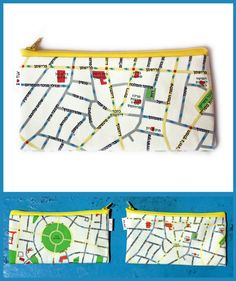 TEL AVIV wallet / Pencil case zipper pouch with yellow by efratul