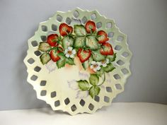 Vintage decorative strawberry plate wall decor by LookBackVintage, $18.00
