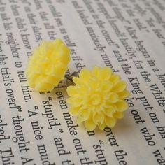 Lemon Yellow Chrysanthemum Flower Resin Earrings $14
