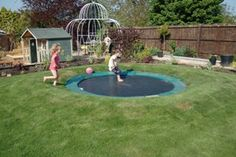 Sunken trampoline. Genius!  Maybe not as many broken bones??