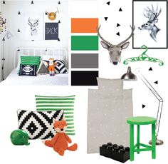Leuke jongenskamer met groen & oranje. Een patroontje op de muur maakt je gemakkelijk zelf met de driehoekjes-muurstickers van Ferm Living. muurstickers zwarte driehoekjes (LouLeChien), poster hert (Petite Louise), pluche hertenkop (Lilians house), kledinghanger (HippeKidsKamer), spaarpot olifant (Wies Wonen),…