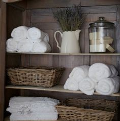 Fill an armoire or bookcase with items that are pretty and that you use everyday