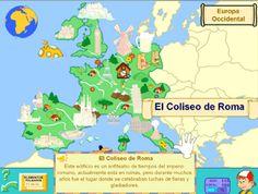 Medio en Primer Ciclo: mapas con fauna, flora y monumentos #Europa #mapas #geografia
