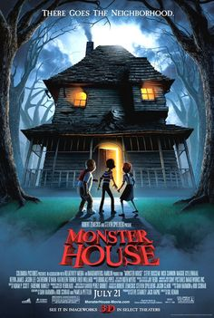 Monster House on DVD October 2006 starring Mitchel Musso, Sam Lerner, Spencer Locke, Steve Buscemi. Monster House is an exciting and hilarious thrill-ride tale about three kids (Mitchel Musso, Sam Lerner and Spencer Locke) who must do battl Kid Movies, Family Movies, Cartoon Movies, Scary Movies, Great Movies, Disney Movies, Horror Movies, Movies To Watch, Movie Tv