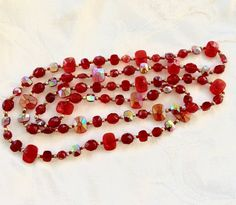 """Vintage Glass Bead Necklace Red Clear and Iridized Ruby Red Beads 36"""" Layering Necklace"""