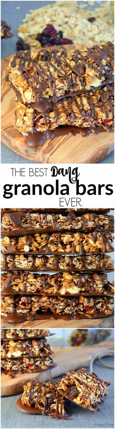 The Best Dang Granola Bars Ever are no bake, and loaded with oats, dried fruit, nuts, and covered in chocolate. The ULTIMATE in homemade treats.