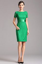 eDressit Corto Vestido Verde para Dama de Honor con Mangas(07152304)