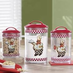 Friendly chefs serve up freshness on this set of acrylic canisters that let you easily see the contents within. Sealing gaskets on the red plastic lids keep contents fresh. Bistro Kitchen Decor, Fat Chef Kitchen Decor, Kitchen Jars, Kitchen Cabinets Decor, Kitchen Decor Themes, Farmhouse Kitchen Decor, Kitchen Colors, Diy Mirrored Furniture, Chef Pictures