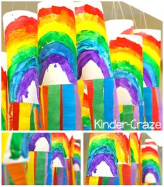 Rainbow windsocks with crepe paper streamers - so cute for Spring in a kindergarten classroom!