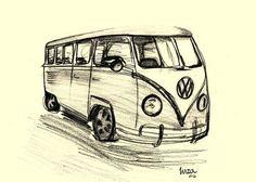 Travel, Drawing, Art, VW