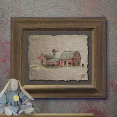 Nostalgic rustic wood windmill art Whimsical yesteryear print adds ...