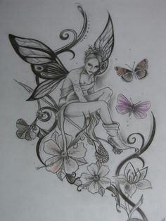 Tattoos And Body Art fairy tattoo designs Mini Tattoos, Flower Tattoos, Body Art Tattoos, Sleeve Tattoos, Tatoos, Butterfly Tattoos, Skull Tattoos, Pretty Tattoos, Beautiful Tattoos