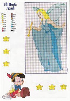 The Blue Fairy cross stitch Cross Stitch Fairy, Beaded Cross Stitch, Cross Stitch Charts, Cross Stitch Embroidery, Disney Cross Stitch Patterns, Counted Cross Stitch Patterns, Cross Stitch Designs, Stitch Character, Stitch Cartoon