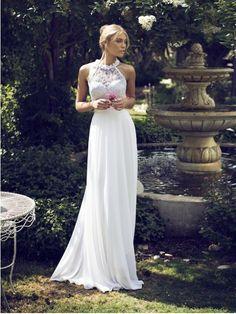 Sheath/Column High Neck Sleeveless Chiffon Floor-Length Applique Wedding Dresses