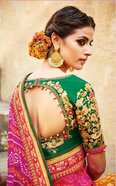 Stylish saree blouse designs prominent the looks of the wearer. For a classy and sophisticated look, try these blouse designs for wedding season. Saree Blouse Patterns, Saree Blouse Designs, Blouse Styles, Blouse Back Neck Designs, Bridal Blouse Designs, Blouse Neck, Sexy Blouse, Black Blouse, Sari
